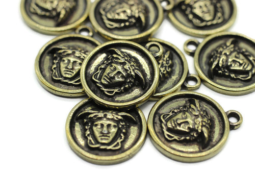 Bronze Medusa charms, 19x23mm Bronze Pendant, coin charms, Bronze charms, medallion charms, disc charm, Greek charms, olympus charms, DSNC