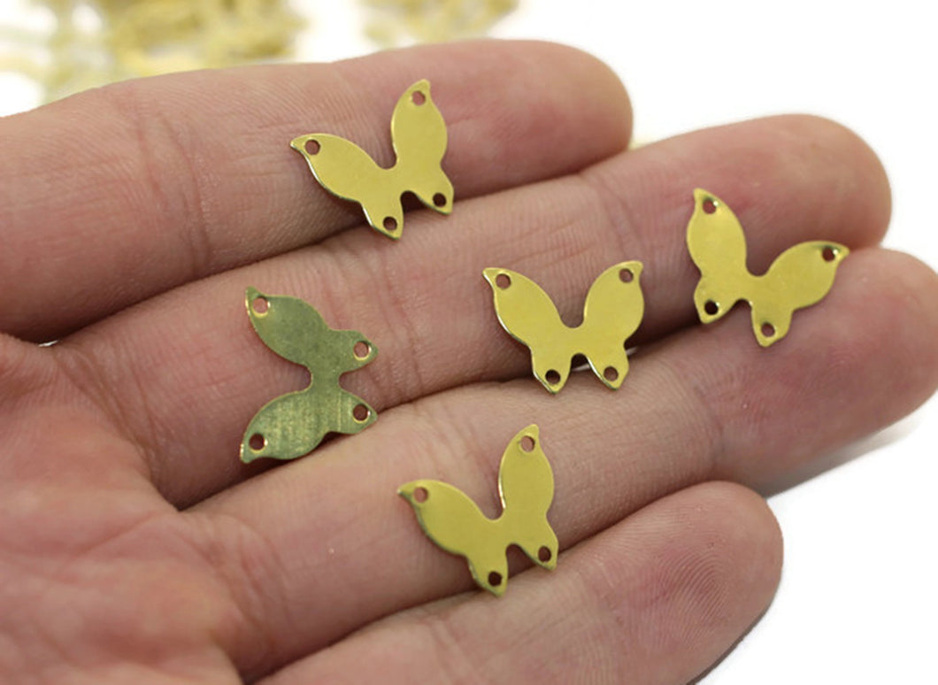 Raw Brass Butterfly Charms, 15x12 mm Connectors with 4 Holes, Butterfly Tags, Stamping Blanks, Butterfly Findings, Necklace charms, BTRF