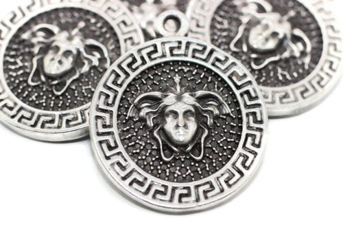 Matt Silver Plated coins, Medusa charms 27x33 mm Medallion Pendant, Coin charms, Greek charms, medallion charms, silver charms, MDSC