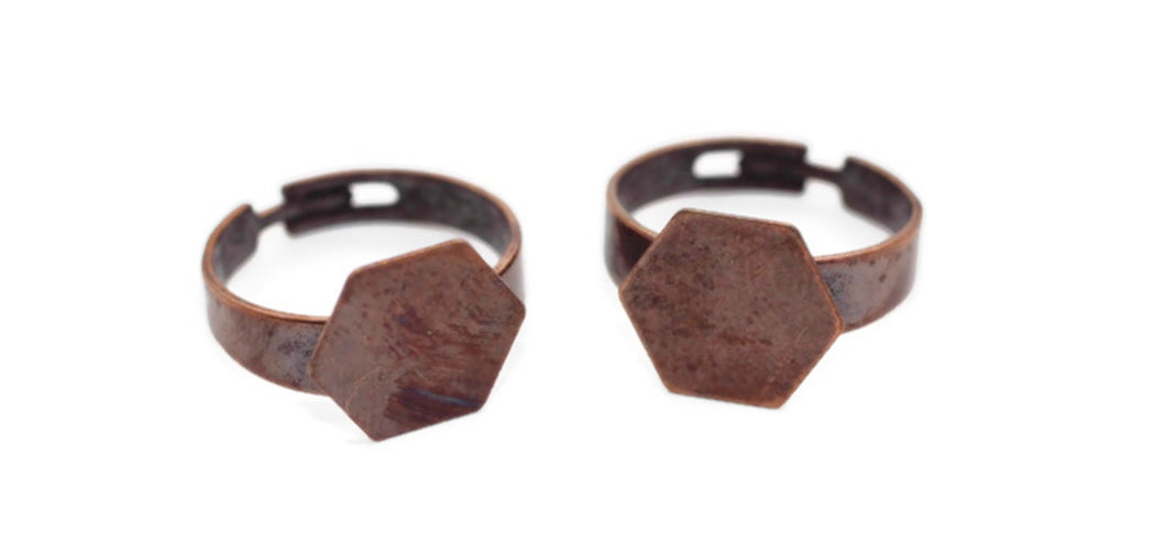 Antique Copper Ring Blanks, Setting Findings, 12 mm,  Adjustable Thin Band, Ring Blanks, Hexagon ring blank, Adjustable ring setting