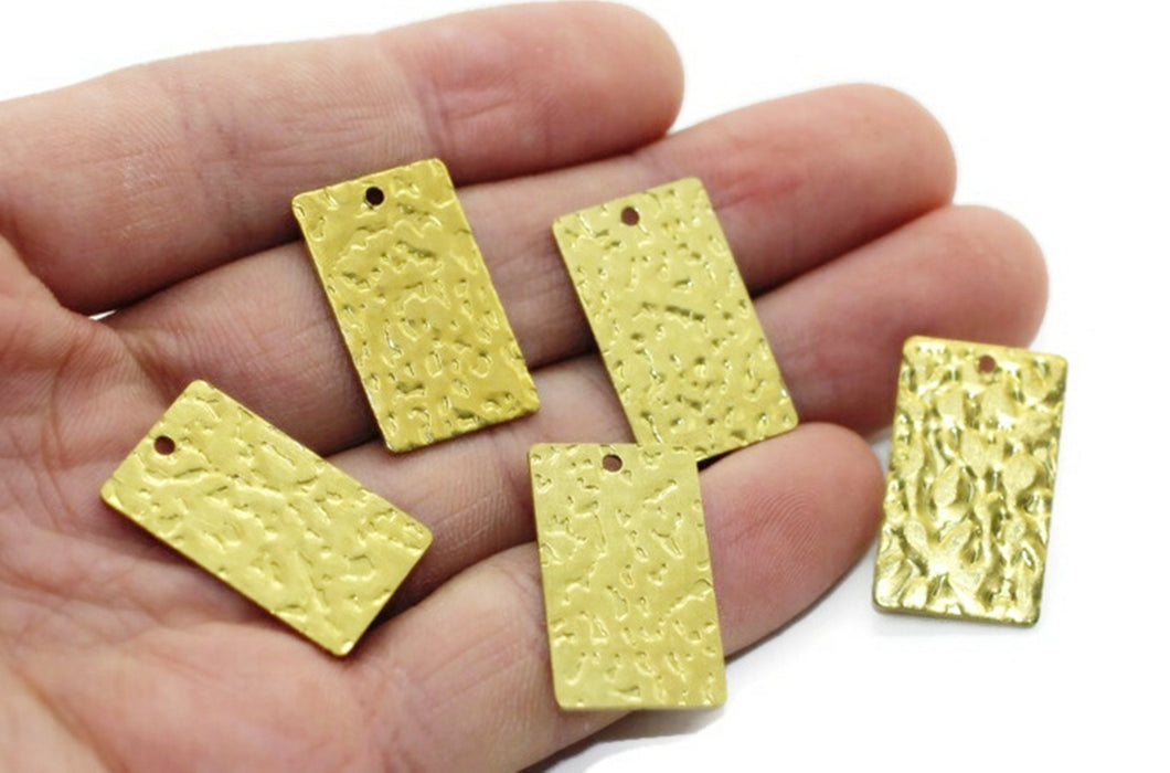 Brass Rectangle Blanks with hole, 15x25 mm Hammered charms, jewelry blanks, Rectangle Stamping Blanks, Rectangle Pendant, brass charms, RCTN