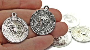 Rhodium coins, Medusa charms 27x33 mm Medallion Pendant, Coin charms, Greek charms, medallion charms, silver charms, MDSC