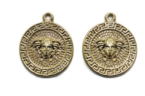 Shiny Gold coins, Medusa charms 27x33 mm Medallion Pendant, Coin charms, Greek charms, medallion charms, Gold charms, MDSC