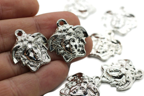 Huge Rhodium Medusa charms, 26 mm Rhodium Pendant, Earring charms, Greek charms, olympus charms, silver charms, medallion charms,  MDSC