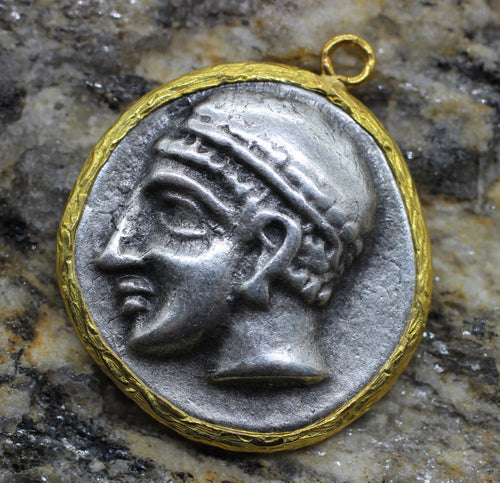 Hittite Empire Coin charms, 27x30 mm Gold Frame Bezel, Hittite Pendants, Medallion Pendant, Ancient coins, Silver Coins, FRRC