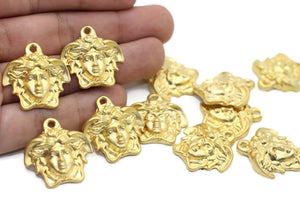 Matt Gold Huge Medusa charms, 26 mm Gold Pendant, Earring charms, Greek charms, olympus charms, Gold charms, medusa charms,  MDSC