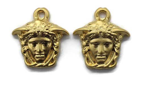 Huge Matt Gold Medusa charms, 17x19mm Gold Pendant, Earring charms, Greek charms, olympus charms, Gold charms, medallion charms,  MDSC