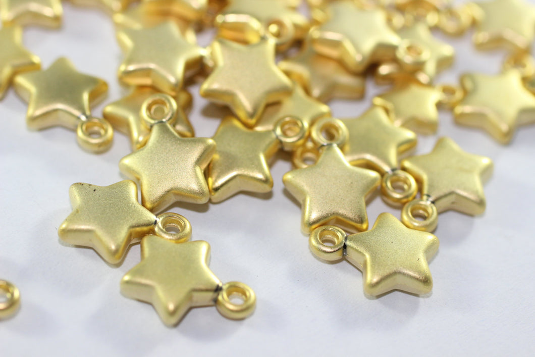 Gold Plated Star Charms, 10x13.5 mm Star Pendants, CCB Puff Charms, Star beads, Sky charms, Jewelry making, star jewelry, AKS 120
