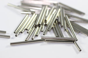 Silver Tone Tube Connectors 2mmx25mm - Long Spacer Tubes - Long Tube Beads - Tube Spacers