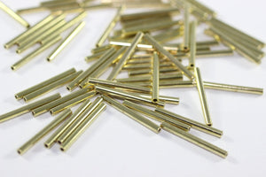 Gold Tone Tube Connectors 2x30mm, Long Spacer Tubes, Long Tube Beads, Tube Spacers, bead spacers, long tube connectors, Brass beads