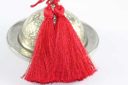 2/10/50 Pcs Candy Apple Red Lux Tassels - 80 mm Long Thick Tassels - for your lovely diy crafts, jewelries and accessories - PS050