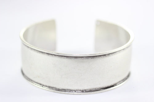 Handmade Wide Antique Silver Plated Cuff Bracelet Bangle , Width Channel 20 mm, Adjustable silver bangle bracelet Silver Plated Band AKS 153