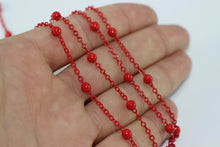 Brass Chains , 1,5x2mm Red Ball Chain, Enamel Chains , Bulk Chain, Red Colored Chain, Satellite Chains