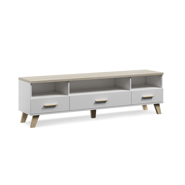 MESA PARA TV BLANCO Y ROBLE