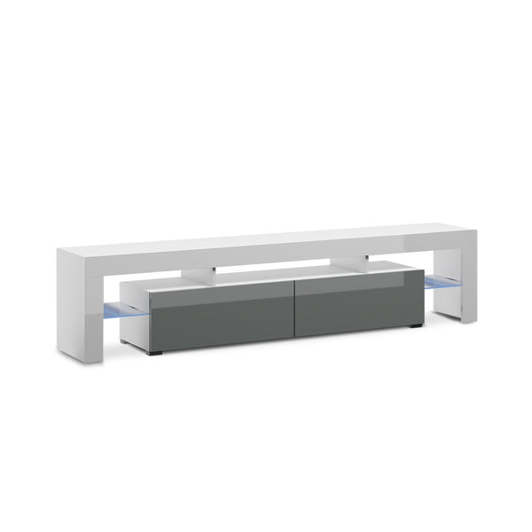 MESA PARA TV BLANCO Y GRIS BRILLANTE