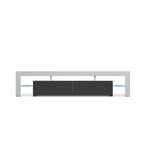 MESA PARA TV BLANCO Y NEGRO BRILLANTE
