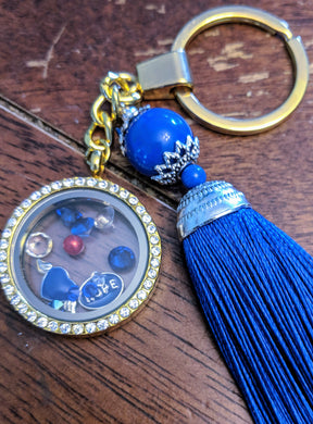 Gold Round Living Floating Locket Keychain with Tassel - Infants-&-Insulin-