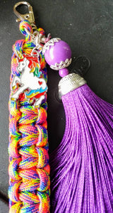 Beautiful rainbow unicorn zipper pull keychain - supports diabetes awareness & research! - Infants-&-Insulin-