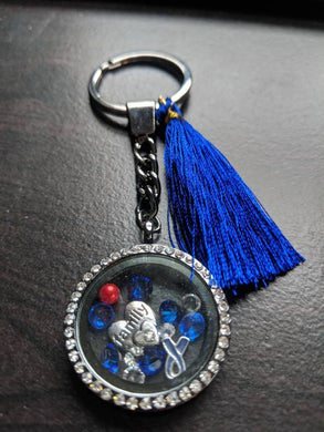 Stunning Silver Crystal Living Floating Locket Diabetes Awareness Keychain - Infants-&-Insulin-