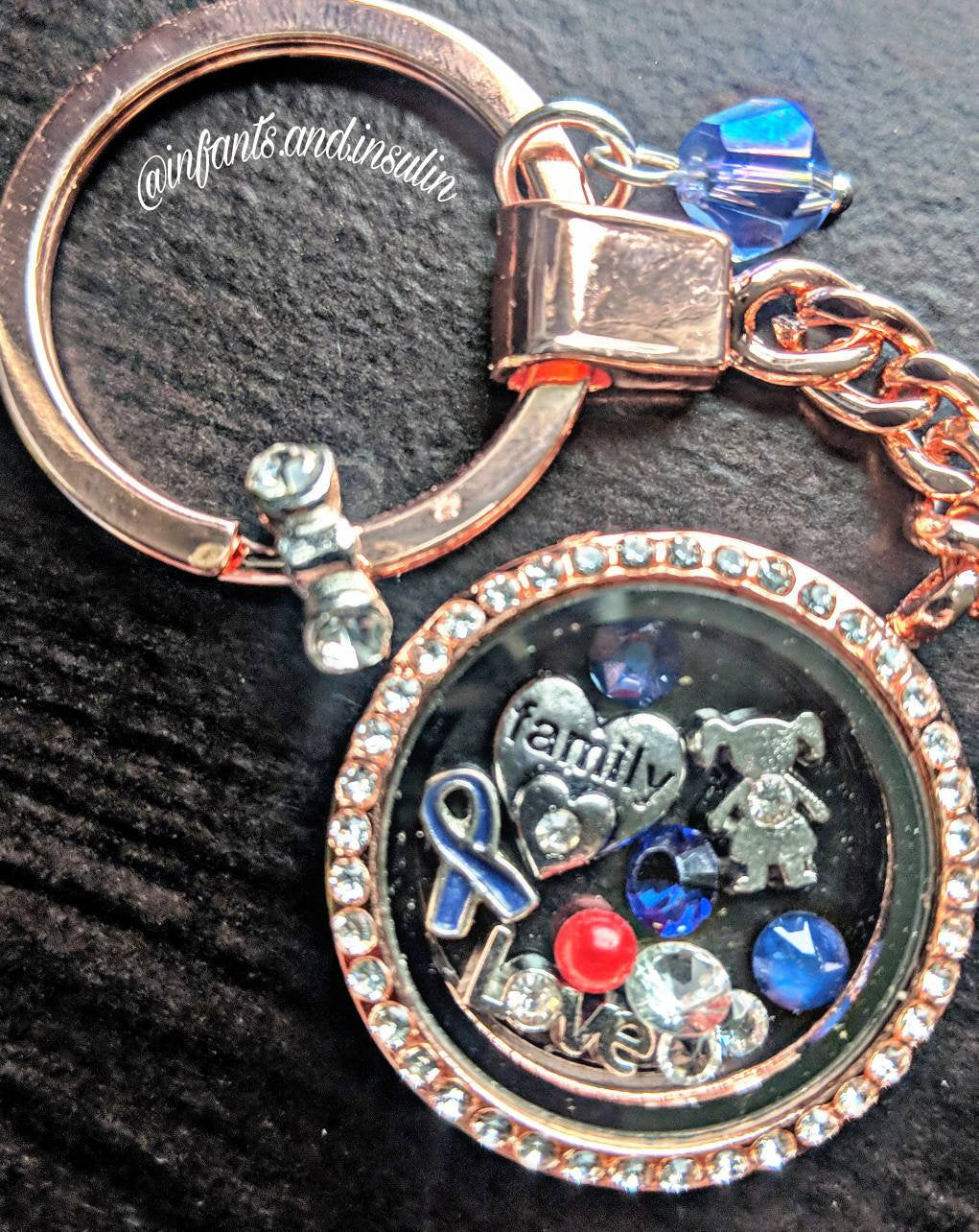 Rose Gold Diabetes Awareness Living Floating Locket Keychain - Infants-&-Insulin-