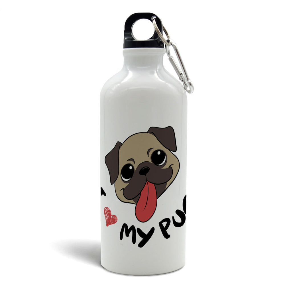 Botella de agua 500cc - I 🧡 my pug - Just For Pets