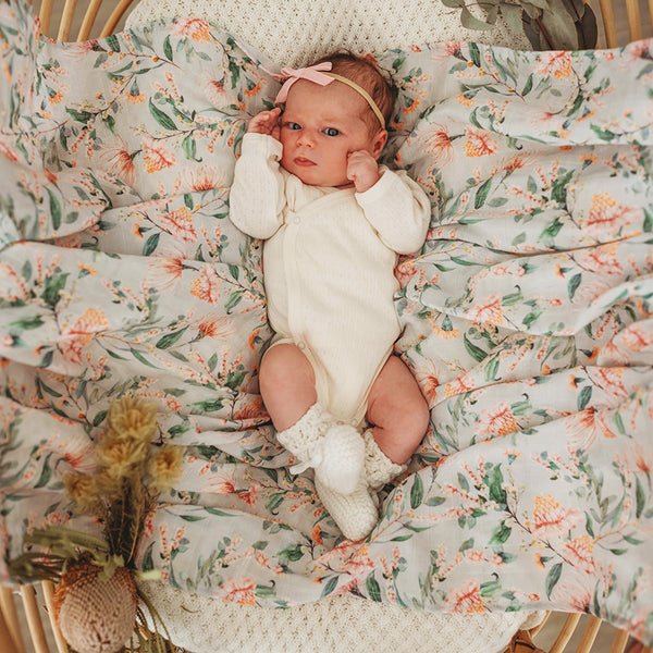 muslin wrap organic cotton newborn baby wattle print by snuggle hunny kids