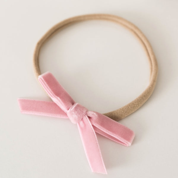 Velvet Bow Headband | Rose Pink
