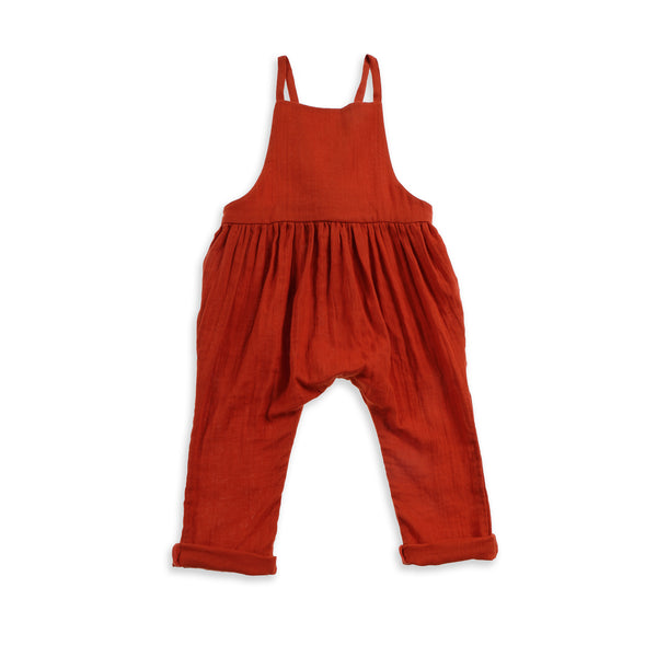 Winnie Woven Cotton Overalls Clay