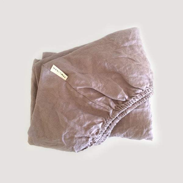 7PM Pure Linen Large Bassinet Fitted Sheet Peony