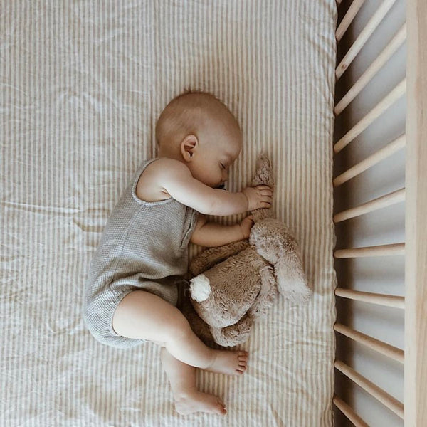 7PM Pure Linen Fitted Cot Sheet Natural Stripe