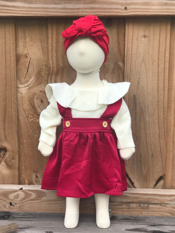 Red riding suspender dress