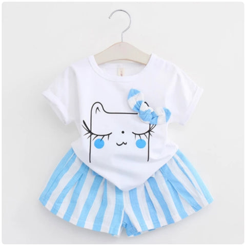 Cartoon kitty shorts set
