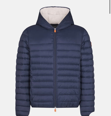SAVE THE DUCK HOODED FAUX SHERPA LINING - NAVY