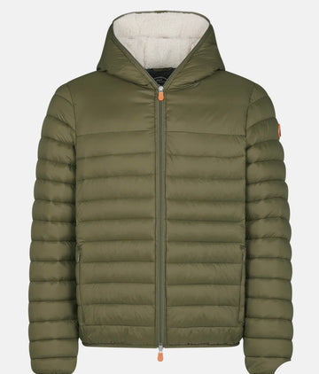 SAVE THE DUCK HOODED FAUX SHERPA LINING - THYME GREEN
