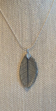 Load image into Gallery viewer, Black Skeleton Leaf Sterling Silver Necklace