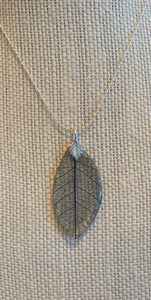 Black Skeleton Leaf Sterling Silver Necklace