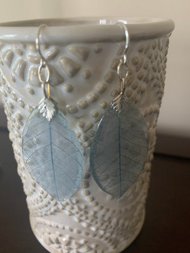 Blue Skeleton Leaf Sterling Silver Earrings