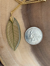 Load image into Gallery viewer, Green Skeleton Leaf Gold Necklace