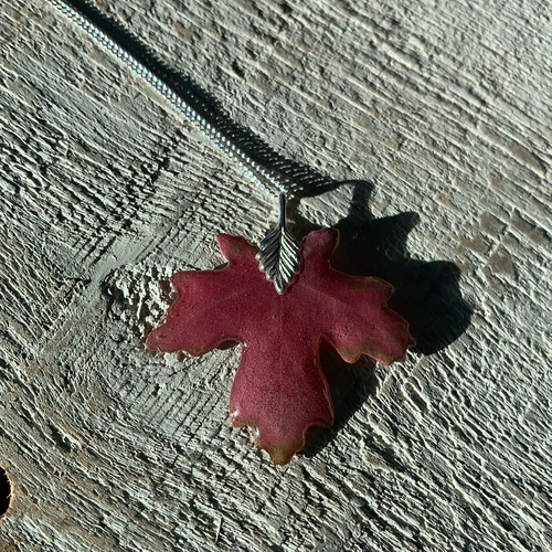 Red Maple Leaf Sterling Silver Necklace