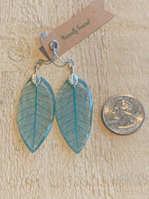 Load image into Gallery viewer, Turquoise Skeleton Leaf Sterling Silver Earrings