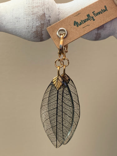 Black Skeleton Leaf Gold Earrings