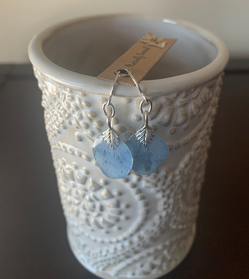Blue Delphinium Earrings Sterling Silver