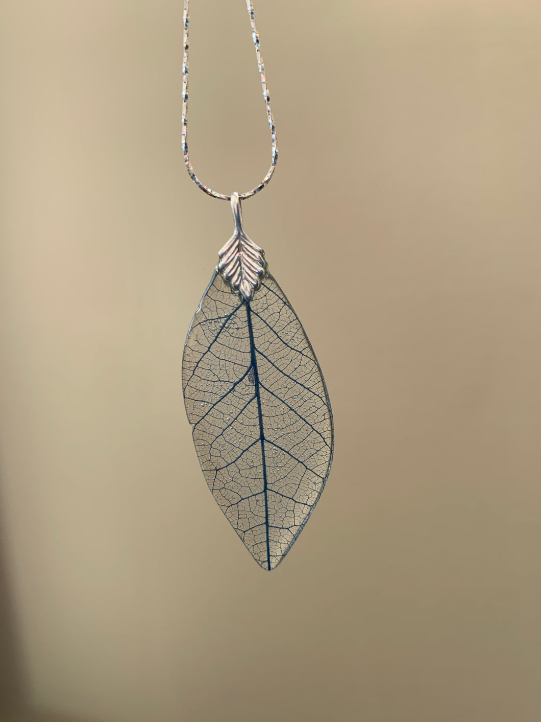 Blue Skeleton Leaf Sterling Silver Necklace