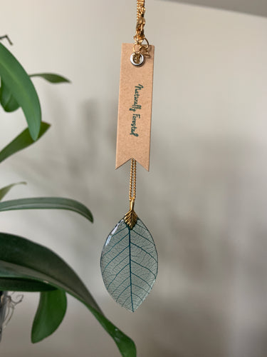 Turquoise Skeleton Leaf on Gold Necklace