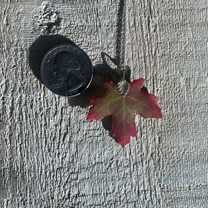 Red Maple Leaf Sterling Silver