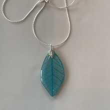 Load image into Gallery viewer, Turquoise Skeleton Leaf Sterling Silver Necklace
