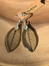 Load image into Gallery viewer, Black Skeleton Leaf Sterling Silver Earrings