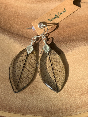 Black Skeleton Leaf Sterling Silver Earrings