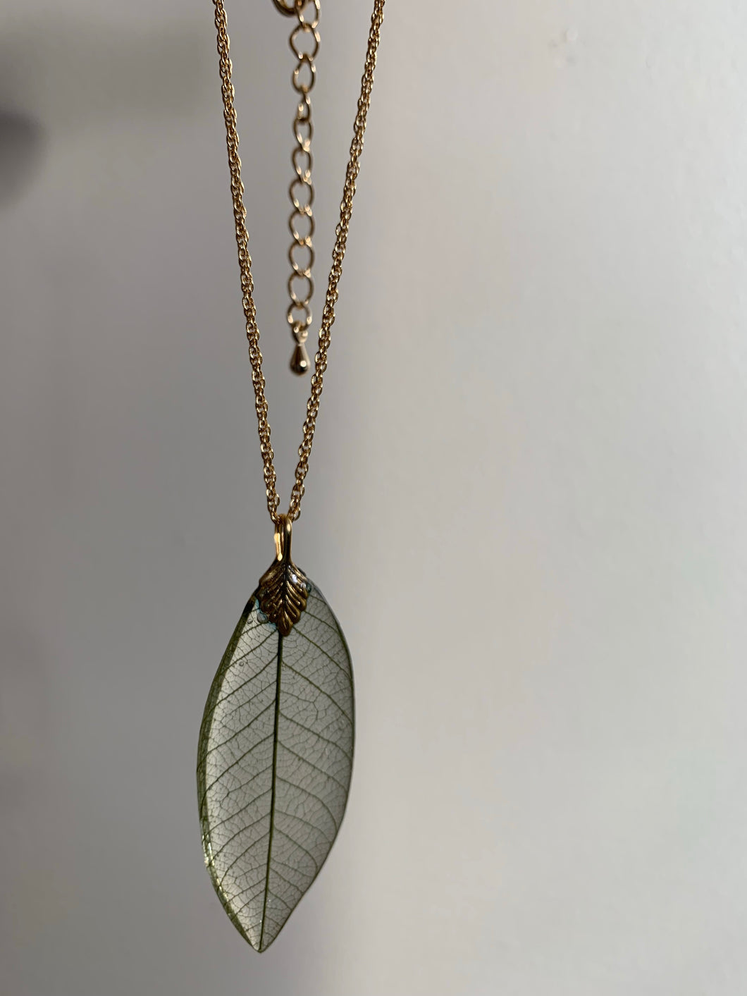 Green Skeleton Leaf Gold Necklace