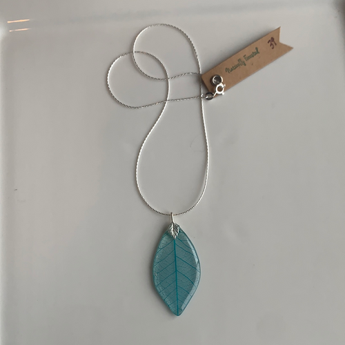 Turquoise Skeleton Leaf Sterling Silver Necklace